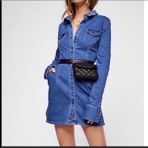 Free people snap up long sleeve denim dress